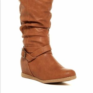 Shoes - Brown leather tall wedges boots